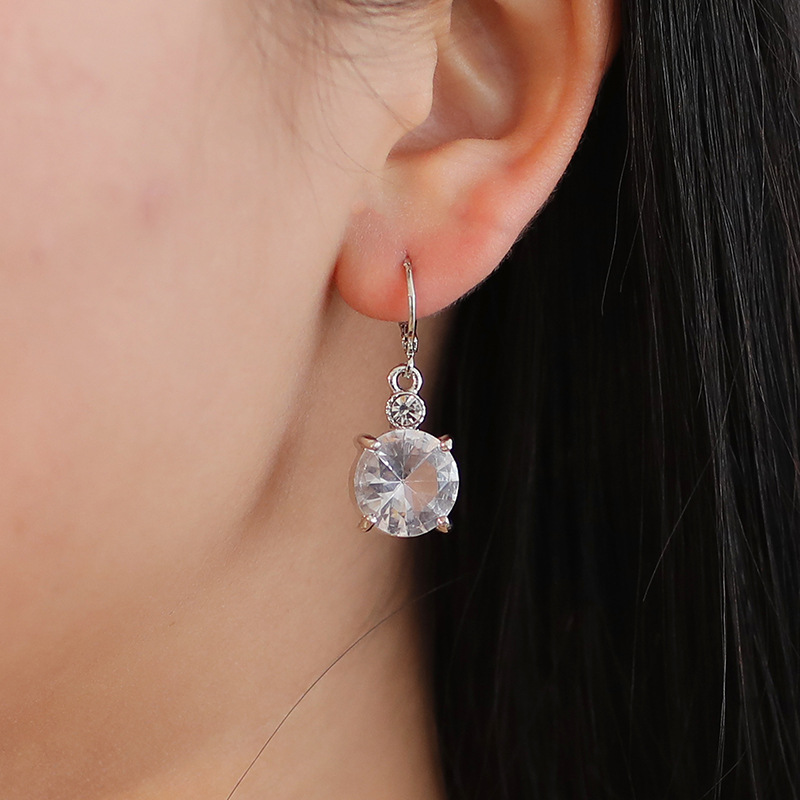 Fashion Wholesale Fashion temperament bridal jewelry round crystal zircon earrings necklace set NHDP178269