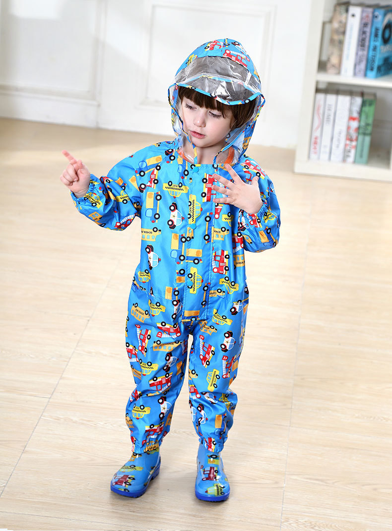 Toddler/Little Kids' cartoon Raincoat for Boys and Girls —— 3 Colors,Hooded,Have Set,One-piece 26