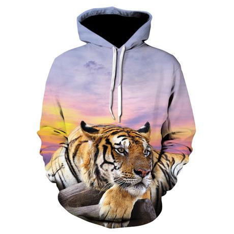 AliExpress mới áo len nam trùm đầu giản dị Rainbow Tiger 3D in kỹ thuật số có thể được tùy chỉnh
