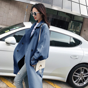 Black windbreaker women's mid-length Korean version of the spring 2018 new student bf loose over the knee chic jacket autumn
