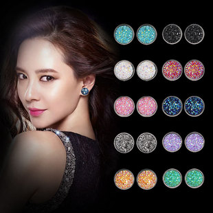 Harajuku style simple geometric round frosted dream starry sky time gemstone starry stainless steel earrings 12MM