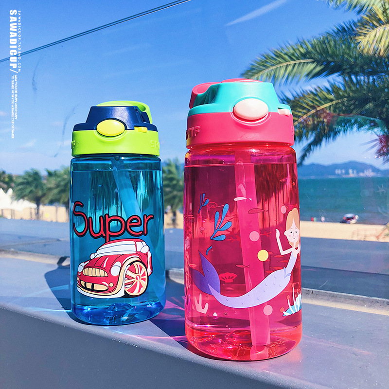 Korean creative children's water cup leak-proof straw cup cute portable plastic cup wholesale NHtn206881