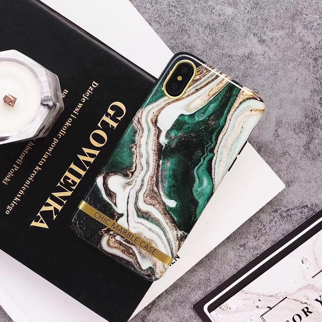 Simple personality creative color matching treasure green marble texture for iphonexs mobile phone shell English 8p protective cover
