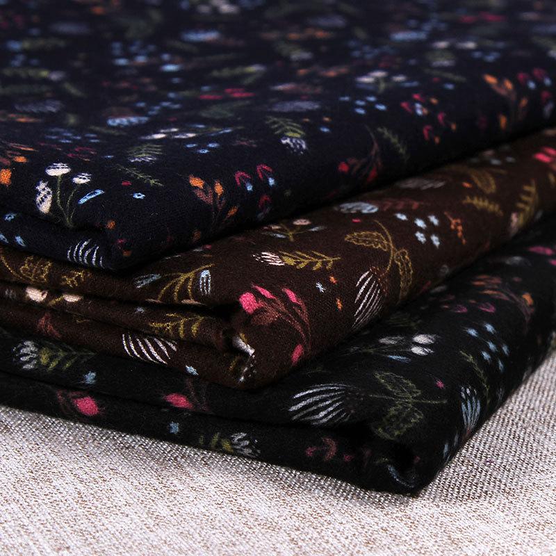 秋冬新款 全棉印花面料 磨毛衣料女装时装布料 现货多色批发订制