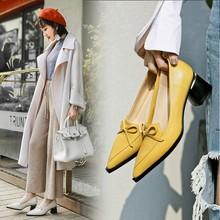 3色欧美风浅口尖头蝴蝶结中跟粗跟真皮女单鞋?#21487;?#22899;鞋一件代发