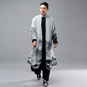 Chinese style cotton and linen men's kungfu clothing tang suit sun shirt Chiffon fake two-piece Chinese disc button robe