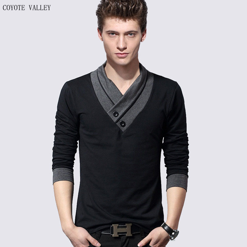 New foreign trade products in spring 2020 men's fashion personality collar cuff color matching long sleeve T-shirt comfortable bottoming coat