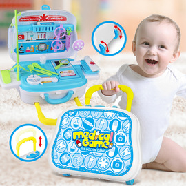 528F children simulation doctor toy trolley case set boy girl play house doctor injection first aid toy