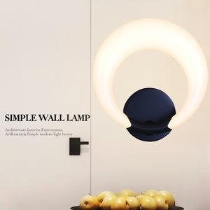 厂家直销轻奢led创意艺术壁灯黑色个性化卧室床头过道圆形亚克力