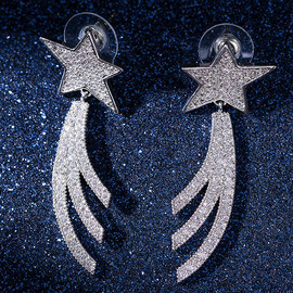 Big-name element meteor zircon earrings Long S925 silver pin five-pointed star earrings