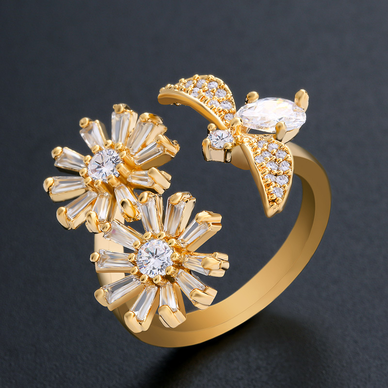 Copper Simple Flowers Ring  Alloy  Fine Jewelry NHAS0459Alloy