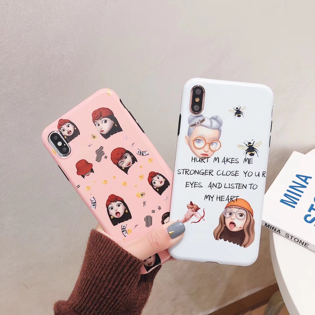 Applicable iPhoneX literary cute little girl Apple 6S mobile phone shell 7 girl expression 8 pack creative protective sleeve
