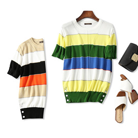 18 summer new products, refreshing and age-reducing, beautiful color matching stripes, hem button, short-sleeved silk, thin sweater, women