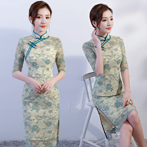 Improved cheongsam dress 2020 new spring and summer lace medium length small fragrance girl's middle sleeve is elegant