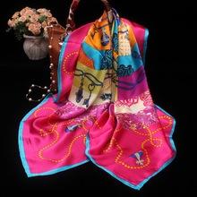 絲巾 女 真絲大方巾 秋季真絲圍巾加寬桑蠶絲噴繪卷邊110真絲方巾