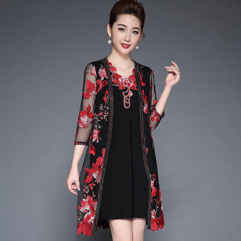 2020新夏款中老年女装 气质高端连衣裙