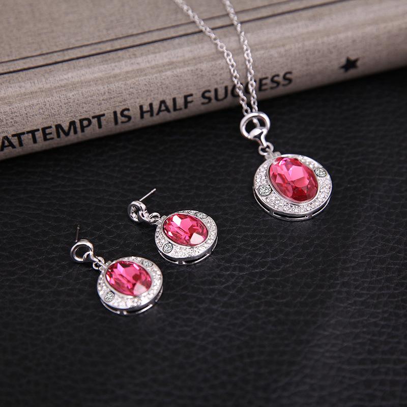 Womens rhinestone alloy Rhinestone Ruby Jewelry Set XS190506120401
