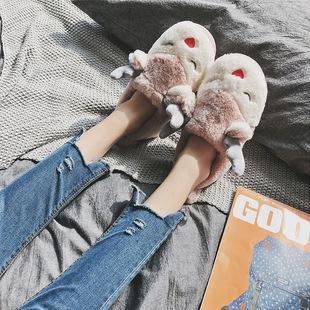 新款亲子棉拖鞋女包跟麋鹿可爱卡通儿童家居棉鞋冬保暖毛绒棉拖男