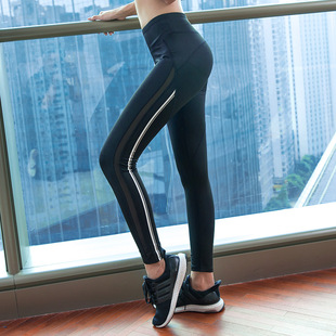 Korean version of the new sports trousers women's stitching mesh comfortable yoga running trousers fitness plus size trousers women