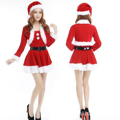 2018新款圣诞节演出服成人女兔女郎圣诞服 红色ds圣诞派对演出服