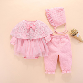 Baby one-piece suit plus cloak two-piece air cotton robes Princess romper romper thickening 0-12 months