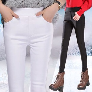 Autumn and winter models of high waist and velvet thickening to keep warm, wearing pencil leggings, women's stretch tights, black women's pants
