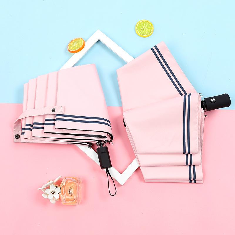 清新海军条纹黑胶晴雨伞全自动户外遮阳伞太阳伞防紫外线广告logo