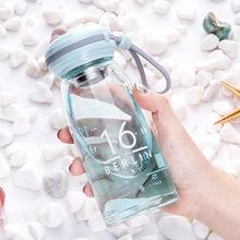 新款单层高硼硅玻璃水杯 男女学生便携硅胶提绳带304滤网杯子