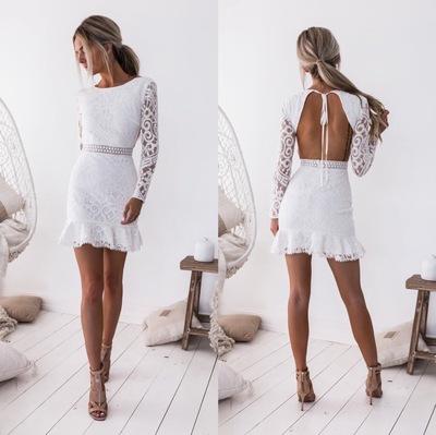 速卖通eBay2018外贸秋季新款露背收腰包臀修身长袖蕾丝连衣裙