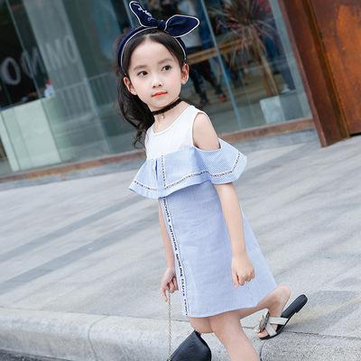 Mùa hè trẻ em mới của ca cao Hàn Quốc cô gái công chúa váy trẻ em không tay vest trẻ em giả hai váy