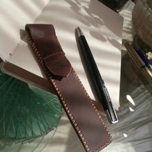 头层牛皮疯马手工制作笔套复古怀旧商务笔袋 钢笔签字笔皮套