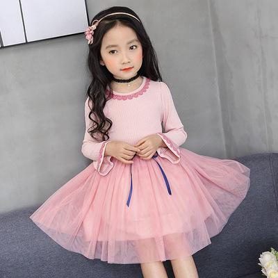 Mùa xuân mới nhỏ ren vòng cổ trumpet tay áo trẻ em gái công chúa váy Hàn Quốc dài tay đầm các nhà sản xuất