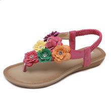402-1新款2019民族女凉鞋跨境波西米亚花朵大码舒适夹?#27966;?#28393;鞋