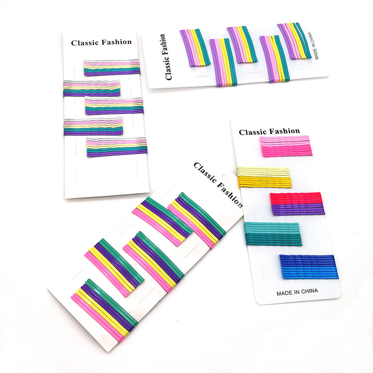 50 pieces hair clips girl Harajuku rainbow candy color basic headdress wholesale nihaojewelry NHSA226594
