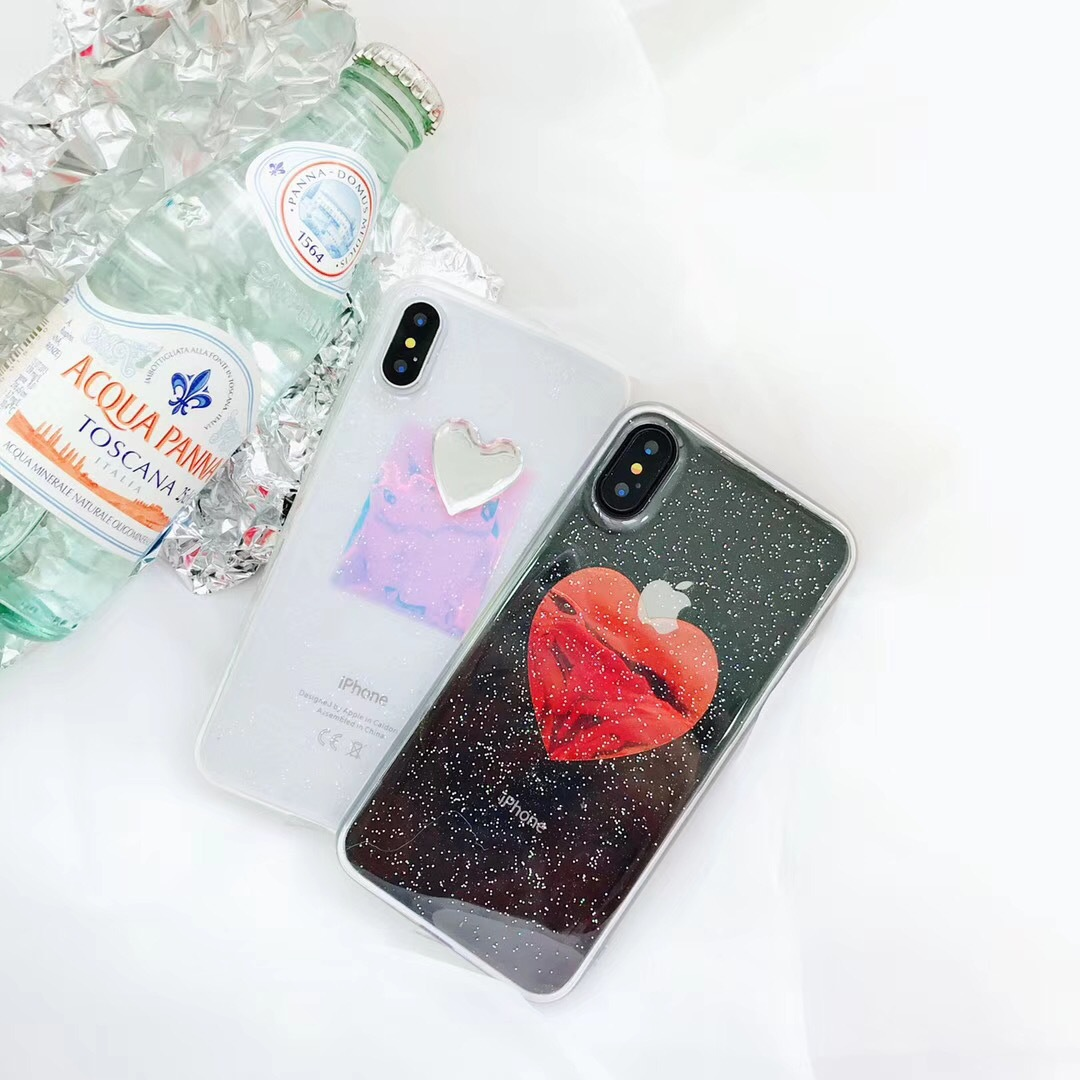 Ins super fire love apple X mobile phone shell couple personality iPhone6plus creative 7p glitter powder men and women lanyard