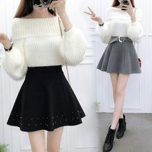 秋冬新款百搭加厚毛呢蓬蓬裙学生半身裙韩版高腰冬裙短裙