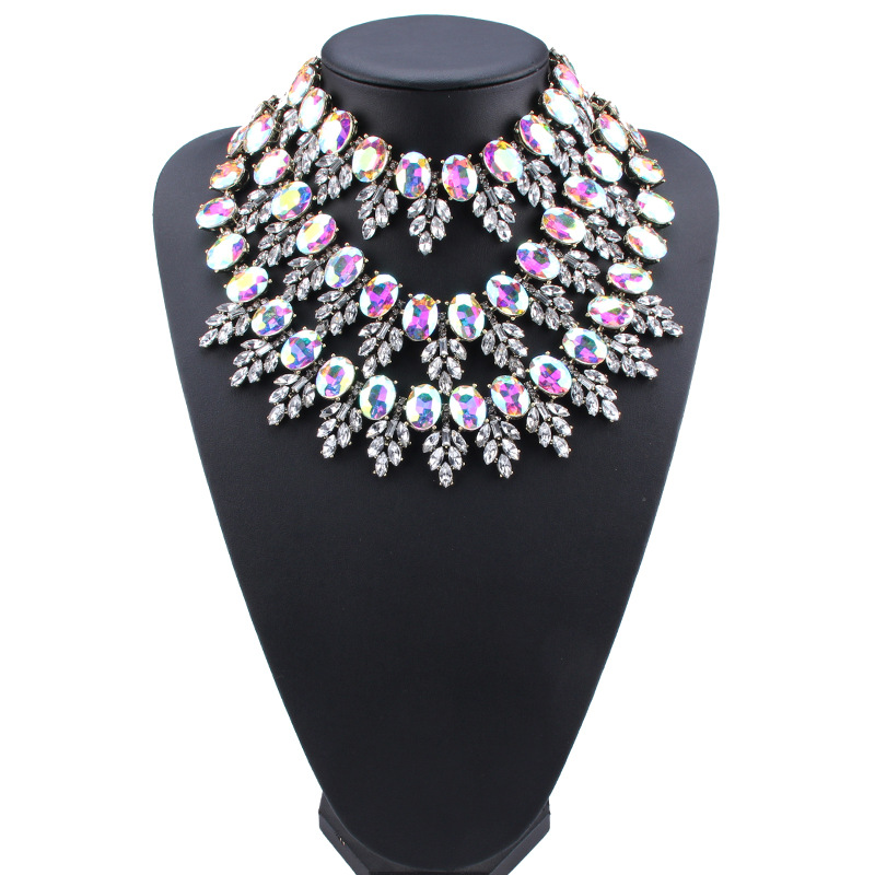 Imitated crystal&CZ Bohemia Geometric necklace  (red) NHJQ10853-red