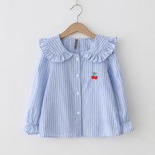 童裝2018春款女童條紋娃娃領刺綉櫻桃純棉韓版長袖襯衣一件代發
