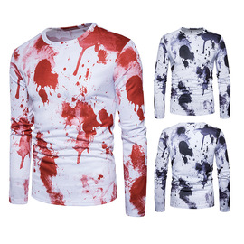 men's spring new young men's fashion paint dot splash printing casual long-sleeved T-shirt