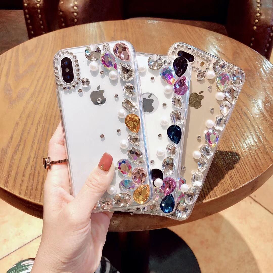 ?#36824;鸛R适用iPhone11 XS Max半钻珍珠手机壳Reno水钻玻璃x27全包套