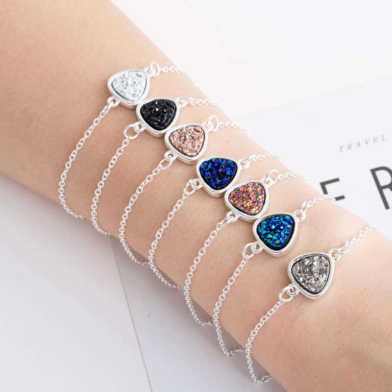 hotsaling peach heart simple natural stone  cluster Christmas crystal alloy bracelet  NHAN254018