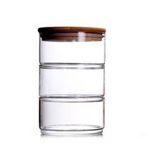 厨房密封透明玻璃储物罐五谷杂粮干果收纳罐高鹏硅竹木密封茶叶罐