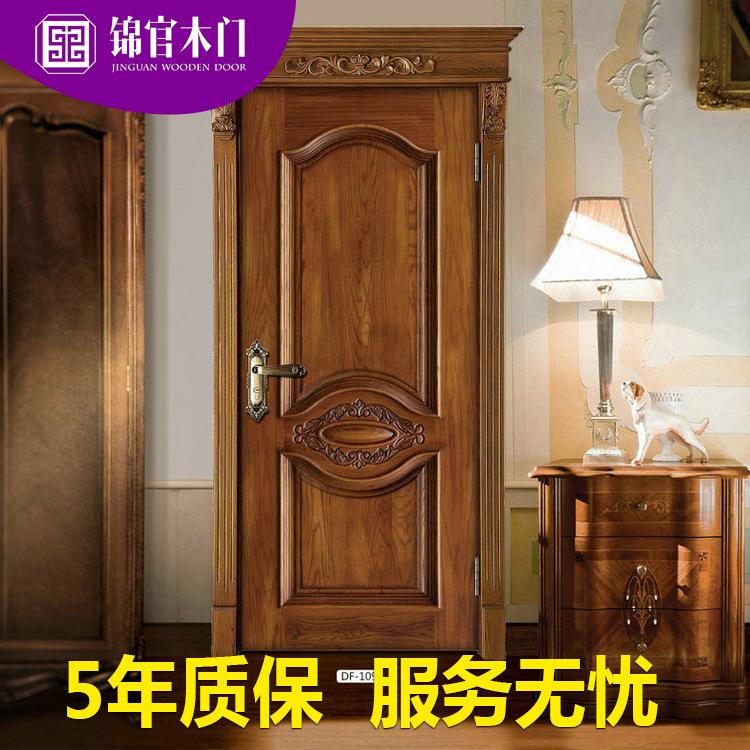 厂家提供卧室室内纯实木门 杉木橡木门房间烤漆门隔音平开门定制
