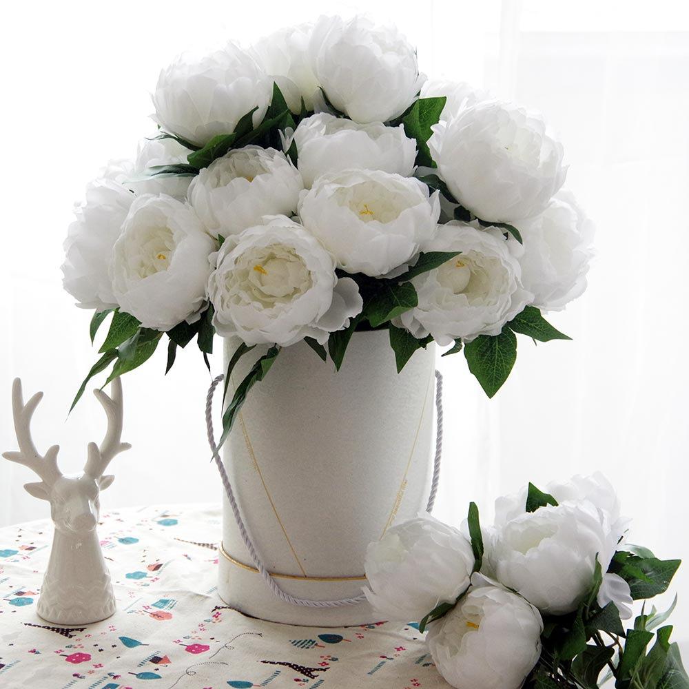 5头把束大牡丹 婚庆餐桌拱门装饰假花 仿真芍药绢花 单朵直径12CM