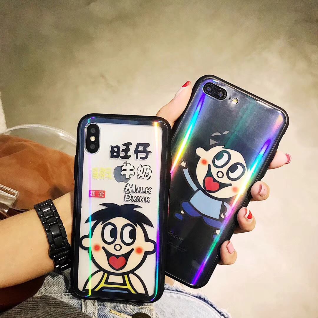 New iphoneX laser aurora glass mobile phone shell Wang Tsai Apple 7P all inclusive 8 personality 6s protective cover cartoon