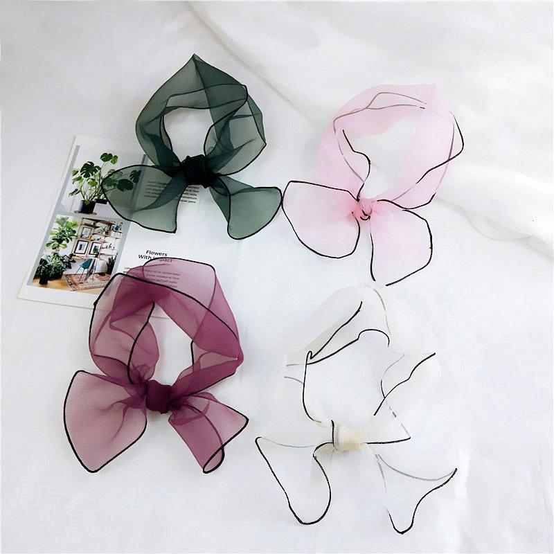 新款纯色欧根纱短款夏季长条小领巾包边围巾轻薄百搭头巾百变丝巾
