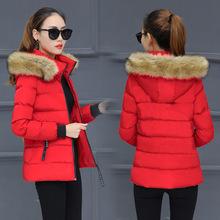 棉服女短款棉襖連帽2020冬季新款純色加厚毛領棉衣女一件代發