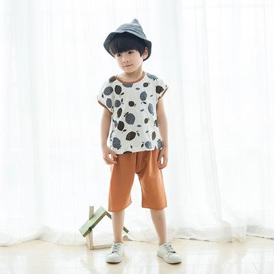 2018夏季新款童套装男童两件套纯棉中小童短袖日式T恤童套装