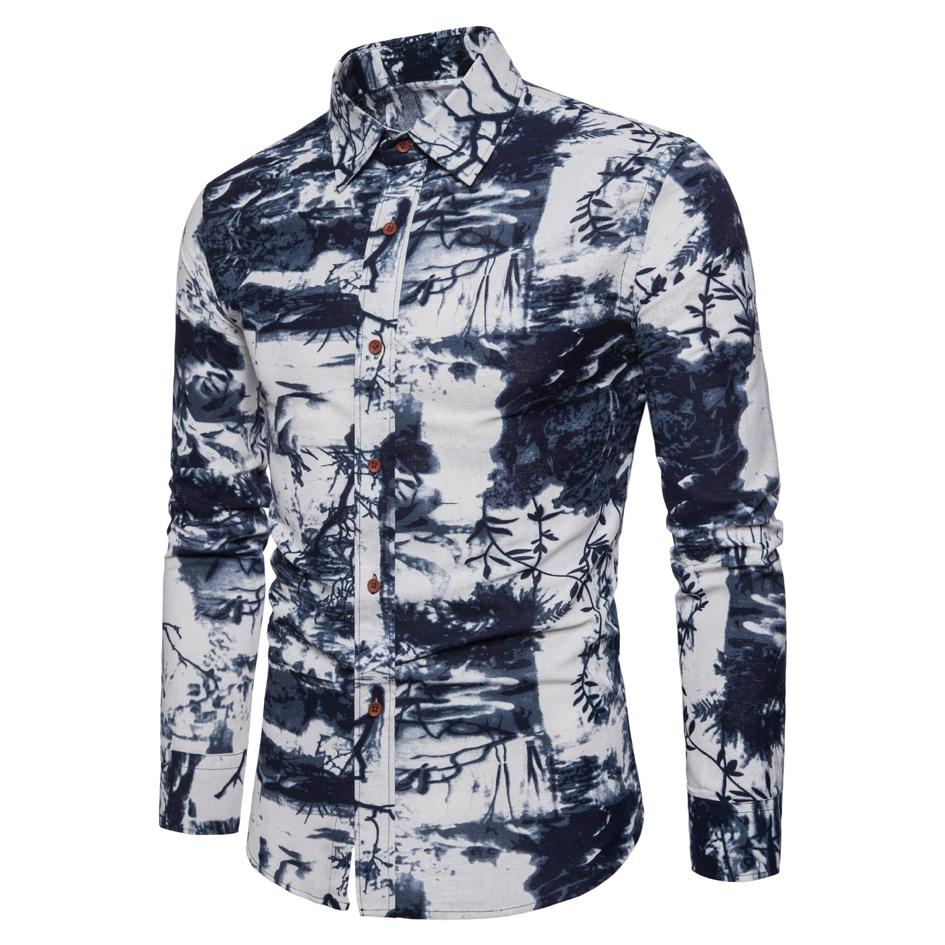 EBay's new men's national style large linen like long sleeve shirt cotton linen breathable ink printed shirt