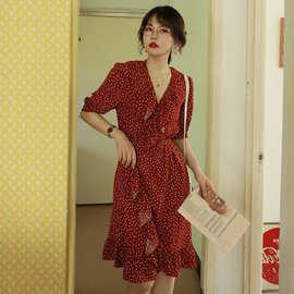 裙子女夏2019新款韩版女装系带一片式荷叶边红色波点连衣裙潮现货
